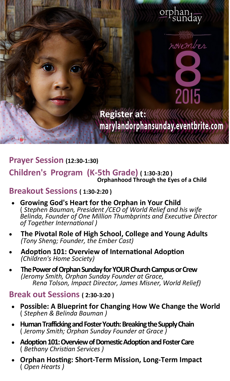 Orphan Sunday Nov 8